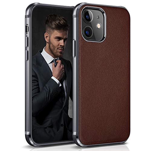 "LOHASIC iPhone 12 Case/iPhone 12 Pro Case, Slim Thin Business PU Leather Cover Flexible Bumper Non-Slip Grip Shockproof Full Body Protective Phone Cases for Apple iPhone 12/12 Pro 6.1"" (2020) - Brown"