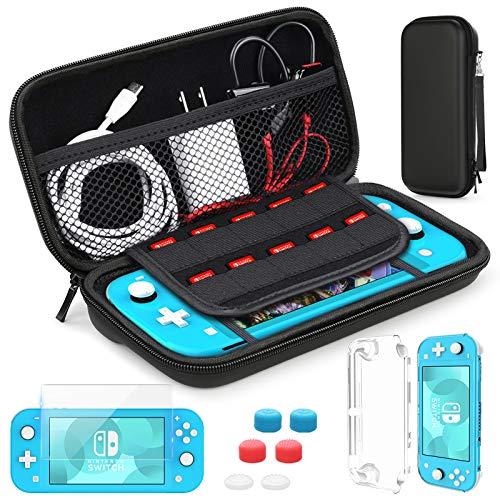 HEYSTOP Kompatible Nintendo Switch Lite Tragetasche, Mini Switch Lite Schutzhülle,Displayschutzfolie aus gehärtetem Glas,Spielekarte,6 Daumengriffkappen für das Nintendo Switch Lite Zubehörkit
