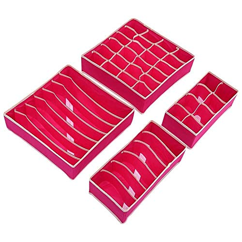 Skitior Apilable 4pcs Cajas de Almacenamiento Plegables Sujetador Ropa Interior Armario Organizador...