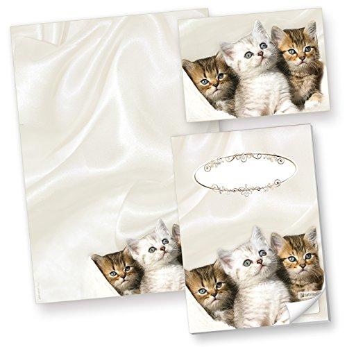 TATMOTIVE Katzen Briefpapier (50 Blatt) Motivpapier A4 90g inkl. 3 Postkarten + Schreibblock