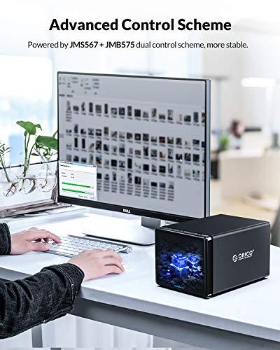 ORICO 4 Bay festplattengehäuse Externe Festplatte, Aluminium 3,5 Zoll USB 3.0 zu SATA III HDD SSD Dockingstation Bis zu 64 TB, RAID0/1/3/5/10/JBOD/Clear