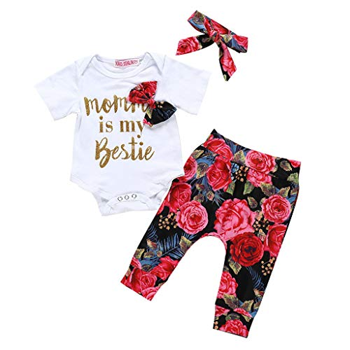Baby Meisje Kleding Set Pasgeboren Lange Korte Mouw Letter Gedrukt Romper+Print Broek+Haarband Outfits Set Peuter Pyjama Set Baby Kid 3 Stuks Slaappak Kleine Zuster Kostuums voor 0-24 Maanden