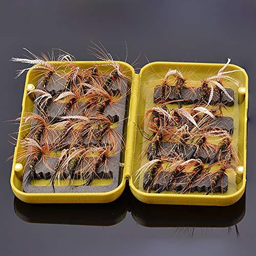 Fliegenfischen Trockenforellenfliegen Pfauenfeder Größe 10 Set mit 32 Fliegen mit Fliegenbox zum Forellenangeln