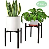 Hopesun Plant Stand Mid Century Modern Metal Flower Pot Holder Up to 10 Inch Planter (2-Pack)