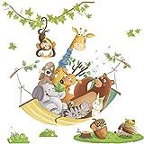 DEKORI AY10125 - Adhesivo mural con diseño de mono y oso sobre hamaca, decoración de pared para niños