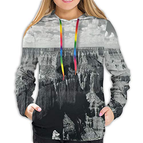 Women's Hoodies Tops,Nostalgic Photo of Ethnic Finding Grand Canyon Peaks In National Park with Cloud,Lady Fashion Casual Sweatshirt,S