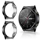 CAVN Hülle Kompatibel mit Huawei Watch GT 2 Pro Schutzhülle Schutzfolie [2-Stück], Flexibles TPU Vollschutz Displayschutzfolie Kratzfest Displayschutz Schutz Hülle Gehäuse (Passt Nicht GT 2/GT)