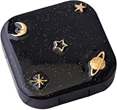 Contact Lens Case,Cute Contact Lens Case,Portable Contact Lens Case For Left/Right Eyes Travel Kit Mirror Bottle Tweezers Container Holder (Black)