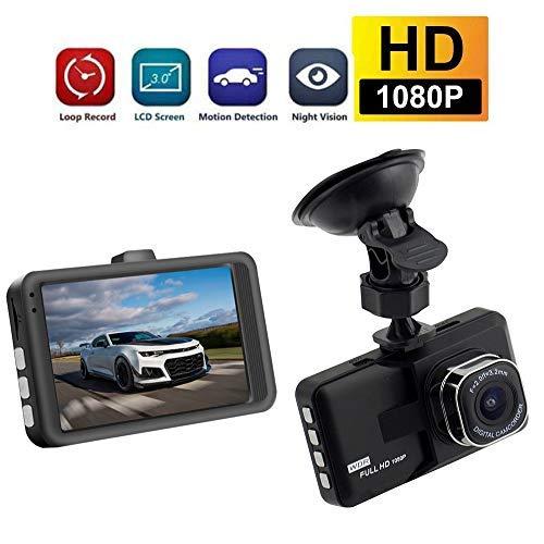 Caméra de Voiture Dashcam ,KOBWA Caméra de Voiture, Auto Dash Cam Full HD 3.0'' 1080P Surveillance Jour et Nuit, Détection de Mouvement, Parking Moniteur, WDR