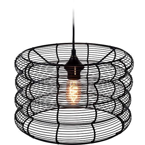 Home @ Styling Collection - Lámpara de techo redonda (34 cm), color negro