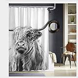 Sotyi-ltd Hochland-Kuh horizontale Duschvorhänge mit 12 Haken, strapazierfähig, schimmelresistent, wasserdicht, waschbar, 183 x 183 cm