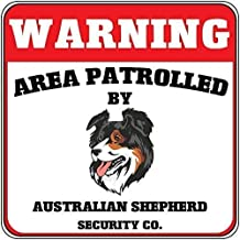 2Triceratops Tin Sign Vintage Metal Sign Warning Area Patrolled Australian Shepherd Dog Security Crossing Man Cave Decorative Aluminum Sign 12X16 Inch Iron Painting