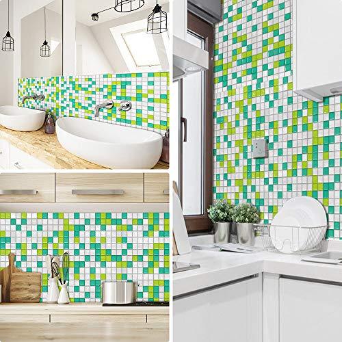 Pegatinas de azulejos para cocina Mosaico baños ladrillo escaleras suelo 20x20 cm, Verde Blanco papel simulación rueba de aceite vinilo autoadhesivo impermeable baldosas hidraulicas Actualizar