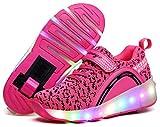 XOMAYI1 Mixte Enfants Chaussures à roulettes 1Roue&2 Roues Respirant Patins à roulettes pour Fille Garçon Retractable Basket a Roulette Detachable Creative Gifts