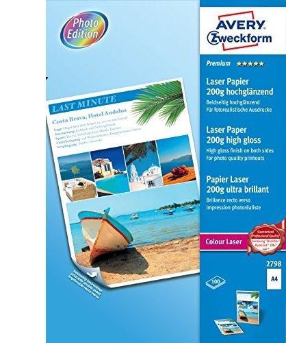 Avery Instant Dry Technology- Carta Fotografica Lucida per Stampanti InkjetBianco, 210 x 297, 100 Pezzi