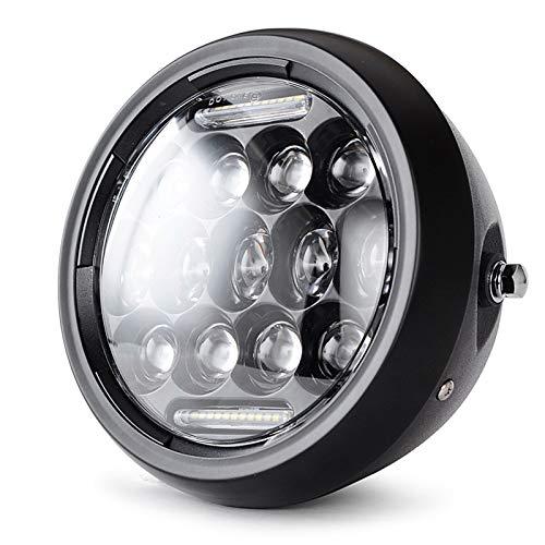 Runder Motorrad-Scheinwerfer 7,5 Zoll LED-Scheinwerfer-Motorrad HI & Lo DRL Phare Farol Moto-Scheinwerfer-Head-Licht für alle 7,5-Zoll-Scheinwerfer-Original- und Modified-Motorräder (Color : Black)