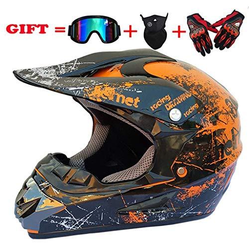 TKJMCasco de Motocross,Cascos de Cross Motocicleta DH,Off-Road Enduro Motorcycle ATV MTB BMX...
