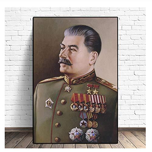 Suuyar Joseph Stalin Porträt HD Wandkunst Leinwand Poster Drucke Malerei Wandbilder Giclée Für Moderne Wohnzimmer Wohnkultur Kunstwerk-60x80 cm Kein Rahmen