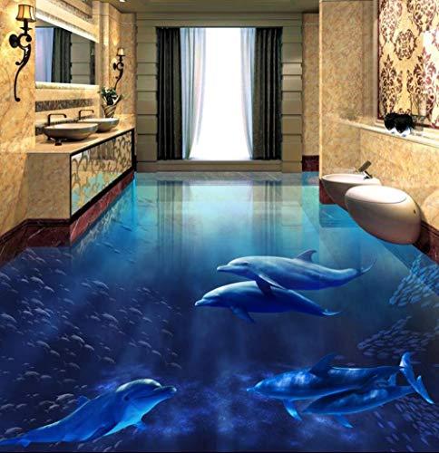 Xcmb Benutzerdefinierte 3D Boden Pvc Vinylboden Dolphins 3D Boden Tapete Wasserdicht Selbstklebende Pvc 3D Tapete-300Cmx210Cm