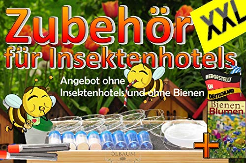 BTV Batovi XXL Futterset + Box für den Bienengarten, mit Wildbiene Pflanzensaat für Garten und Balkon + Tränken und Futterschalen, Futterkonzentrate, Menüplan + Anleitung + witzige Hotelzeitung