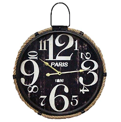 Ybzx Gusseisen mit Haken Runde Retro Wanduhr American Industrial Style Quarz Metall Eisen Mute Clock Uhr Wohnzimmer Wanddekoration Nordic Model Soft Outfit Silent Watch, Schwarz