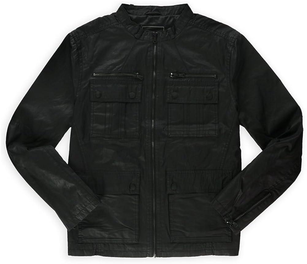 Rock & Republic Mens Solid Motorcycle Jacket, Black