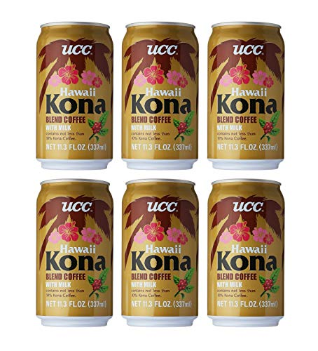 UCC Canned Coffee Blend with Milk Drink 6 Pack (Hawaii Kona Blend Coffee with Milk)