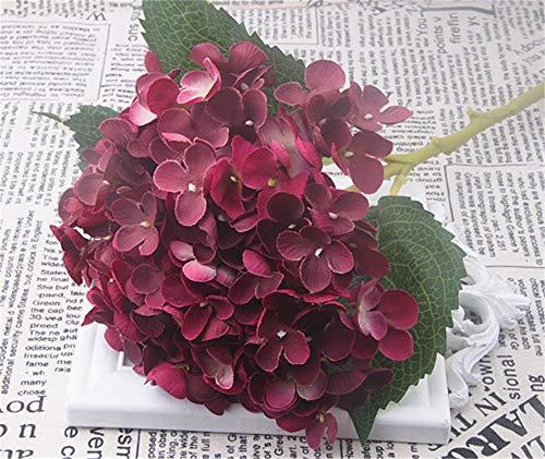 SWECOMZE Kunstblumen Künstliche Hortensie Blumen Dekoration Künstliche Hydrangeablume Hochzeit Dekor (Weinrot)