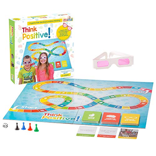 Think Positive a fun Kids Board Game to promote positive thinking in life for ages 6+. Therapy and learning family game with Doing Good, Thinking Positively and Seeing Good cards & rose tinted glasses