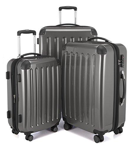 HAUPTSTADTKOFFER - Alex - 4 Doppel-Rollen 3er Koffer-Set Trolley-Set Rollkoffer Reisekoffer, TSA, (S, M & L), Titan