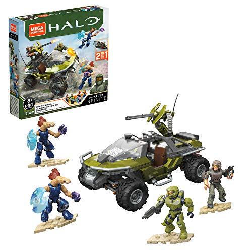 Mega Construx GNB25 - Halo Infinite 2-in-1 UNSC Warthog-Fahrzeug Bauset mit 4 Figuren, 314 Bausteinen, Spielzeug ab 8 Jahren