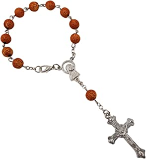 MY_Treasure_Store One Decade Rosary Beads Catholic Bracelet with Sacred Heart of Mary Guadalupe & Cross Crucifix