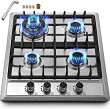 Happybuy 23x20 inches Built in Gas Cooktop 4 Burners Gas Stove Cooktop Stainless Steel Cooktop Gas Hob With Liquid Propane Conversion Kit Thermocouple Protection and Easy to Clean