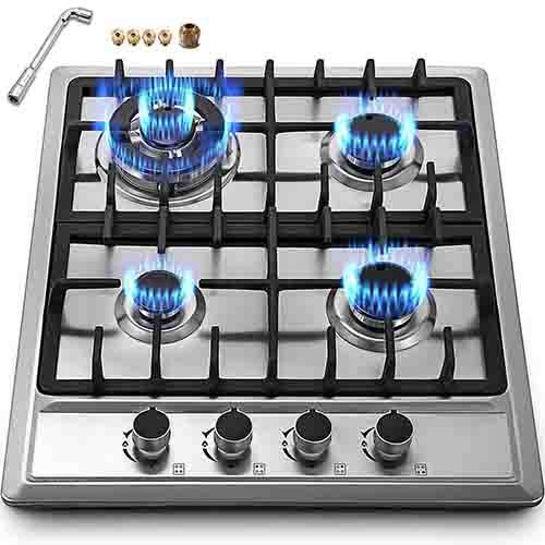 "Happybuy 23""x20"" Built in Gas Cooktop 4 Burners Stainless Steel Stove with NG/LPG Conversion Kit..."