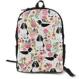 English Springer Spaniel Black and White Coat Florals Cream Adult Premium Travel Backpack, Water-Resistant College School Bookbag, Sport Daypack, Outdoor Rucksack, Laptop Bag for Men&Women