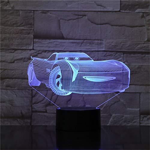 Luz de noche 3D Cars Lightning McQueen Lámpara de noche para niños Lámpara de mesa de acrílico cambiada de color Regalos para niños Juguete de Navidad