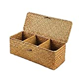 3 Grids Hand-Woven Water Hyacinth Baskets With Lid, Straw Storage Basket