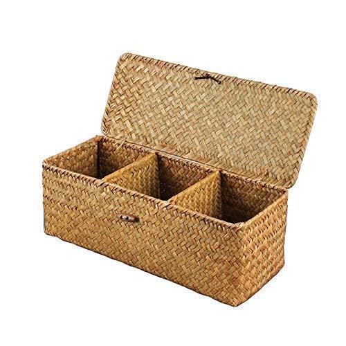 3-Raster aus handgeflochtener Wasserhyazinthe Körbe mit Deckel, Stroh, Aufbewahrungskorb