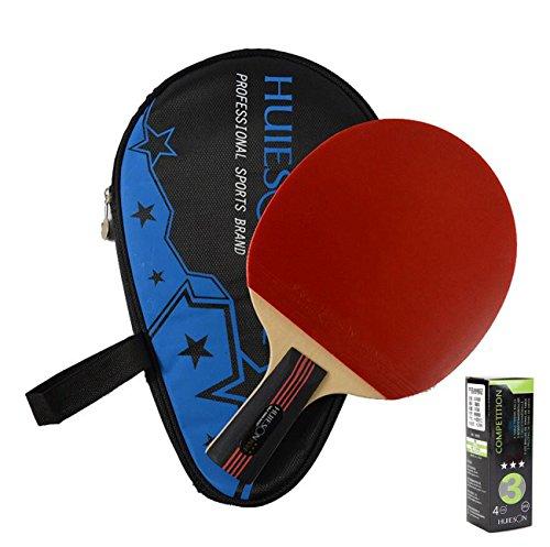 LANFIRE(huieson) 4Star–Raqueta de Tenis de Mesa pimples-in Goma Raqueta de Tenis de Mesa Ping Pong Paddle con Bolsa para niños Top Calidad Hotsale