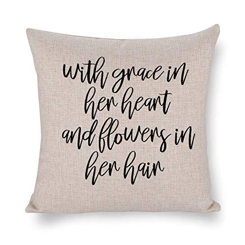 Blafitance Funda de almohada con diseño de corazón y flores silvestres en su cabello, funda de almohada decorativa de lino de granja, decoración rústica para el hogar, 30 x 30 cm