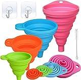 Nuyoah Embudo Plegable de Silicona Embudo Pequeño de Cocina 4 Juegos Flexible Embudo para Transferencia de Líquido y Polvo, Sin BPA, Seguro para Lavavajillas