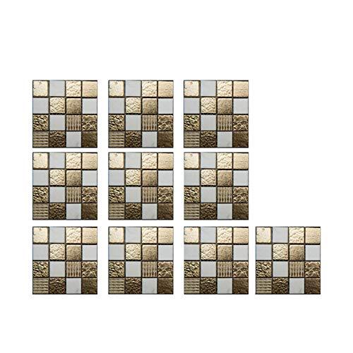 10 pegatinas para azulejos de mosaico negro 3D de cristal, impermeables, autoadhesivas, para baño, cocina, muebles de pared (10 x 10 cm) (A)