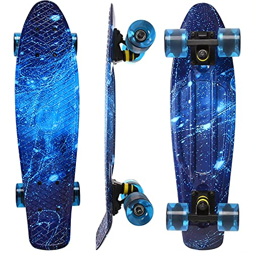 WonderTech Galaxis Skateboard Kinder ab 5 Jahre,22 Zoll Penny Board Blau Mini Cruiser für Jungen und Mädchen 55 cm