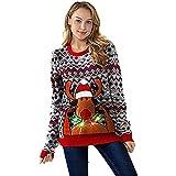 Weihnachtspullover mit LED Licht Rudolf