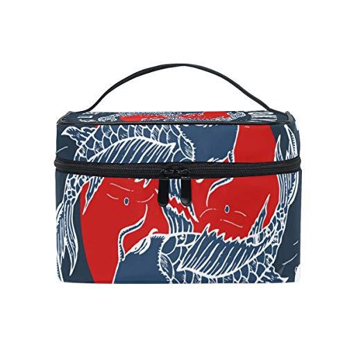 Sac de maquillage maquillage style japonais bambou koi carpes guerrier stockage portable avec fermeture à glissière