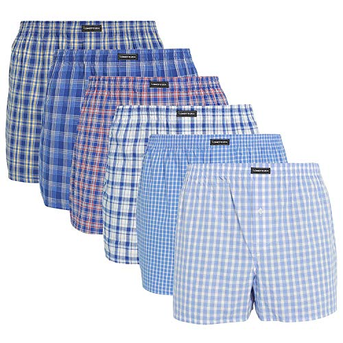 Lower East Herren American Boxershorts, 6er Pack, Mehrfarbig (Business), Gr. X-Large