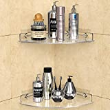 GeekDigg 2 Pack Corner Shower Caddy, Transparent Acrylic Shelf, Wall Mounted No Drilling Traceless Adhesive Bathroom Storage Organizer, Storage Rack for Toilet, Shampoo, Dorm, and Kitchen