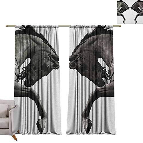 Venster verduisterende gordijnen staaf Pocket gordijn panelen voor slaapkamer & keuken sculpturen, Twin Contrast Paard Hoofden standbeeld Vintage Stijl Abstract Art Antiek Thema Brons