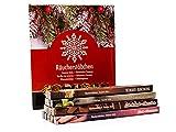 Luxflair - Juego de varillas de incienso para invierno con almendras, claveles, sándalo, chocolate, vainilla, canela + 2 sorpresas.