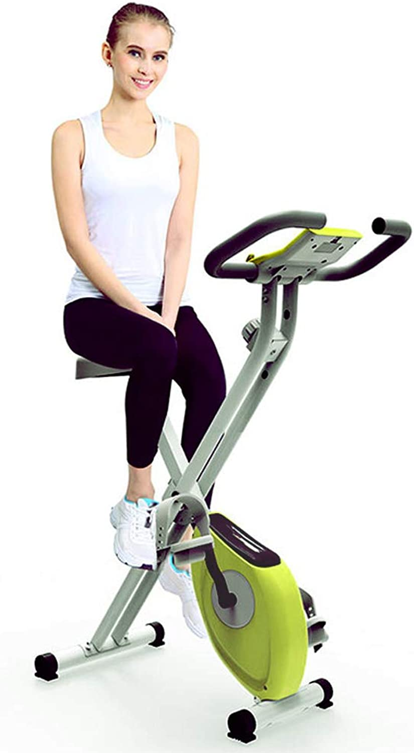 Magnetron X Exercise Bike,Foldable+8Speed Resistance Adjustment+Mobile Phone Tablet Bracket+MultiFunction Led Electronic Watch,Mute,NonSlip Feet,Portable and Mobile